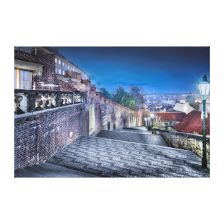 Prague Castle Stairs Night Canvas