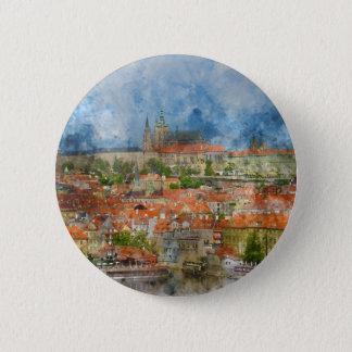 Prague Castle with famous Charles Bridge in Czech 6 Cm Round Badge