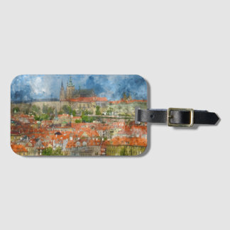 Prague Castle with famous Charles Bridge in Czech Luggage Tag