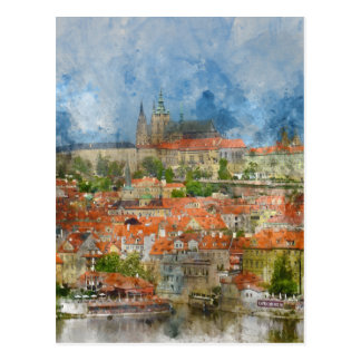 Prague Castle with famous Charles Bridge in Czech Postcard