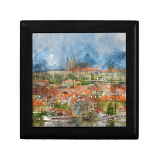 Prague Castle with famous Charles Bridge in Czech Small Square Gift Box
