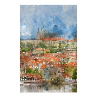 Prague Castle with famous Charles Bridge in Czech Stationery