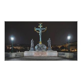 Prague Charles Bridge Jesus at the Cross at Night Canvas Print