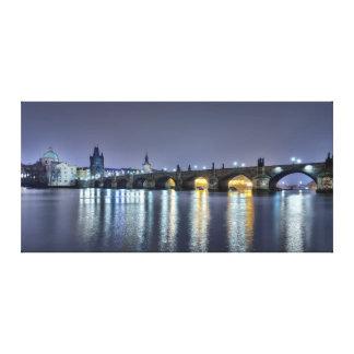 Prague Charles Bridge Old Town Night Canvas