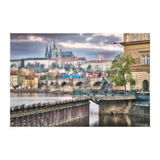 Prague Charles Bridge Vltava River Canvas