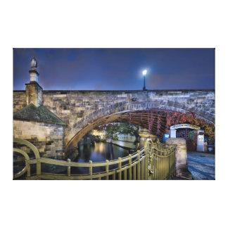 Prague Charles Bridge with Railing at Night Canvas Print
