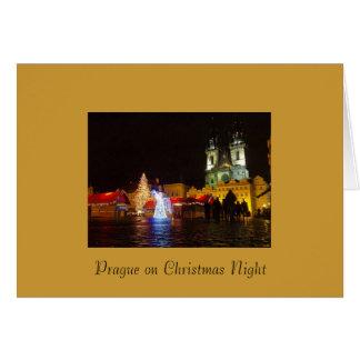 Prague Christmas Night Merry Christmas Card