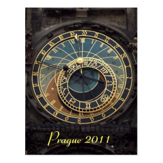 Prague clock postcard