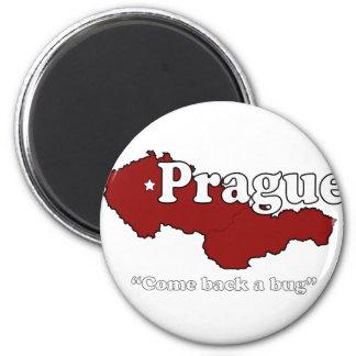 Prague: Come Back a Bug 6 Cm Round Magnet