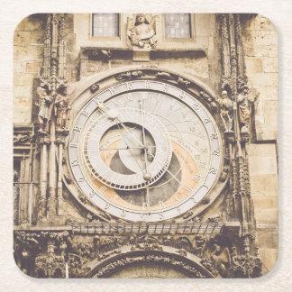 Prague, Czech Republic astronomical clock Square Paper Coaster