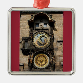 Prague Czech Republic Clock Silver-Colored Square Decoration