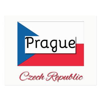 Prague Czech Republic Flag Postcard