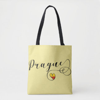 Prague Heart Grocery Bag, Czech Republic Tote Bag