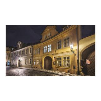 Prague Lesser Quarter Misenska Street at Night Canvas Print