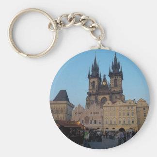 Prague Praha Czech Republic Old Town Square Basic Round Button Key Ring