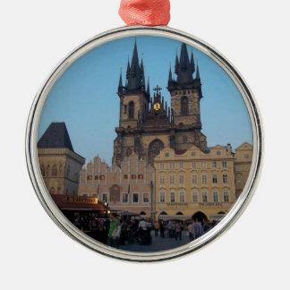 Prague Praha Czech Republic Old Town Square Silver-Colored Round Decoration