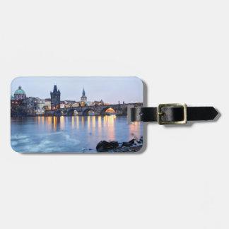 Prague River twilight view souvenir photo Luggage Tag