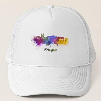 Prague skyline in watercolor trucker hat