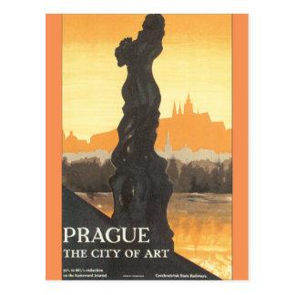 Prague the City of Art Vintage Travel Poster Postcard