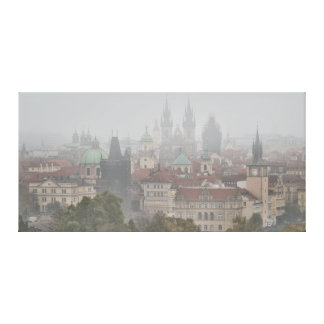 Prague Towers in the Morning Fog Canvas Print