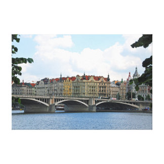 Prague. View of the embankment of the Vltava River Canvas Print
