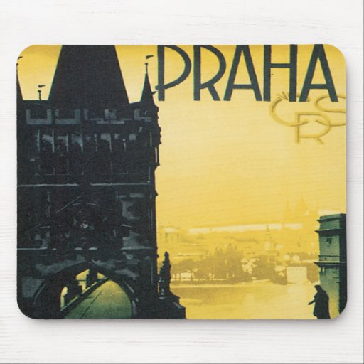 Prague Vintage Travel Poster Mouse Pad