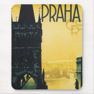 Prague Vintage Travel Poster Mouse Pad