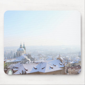 Prague Winter Rooftops Mouse Pad