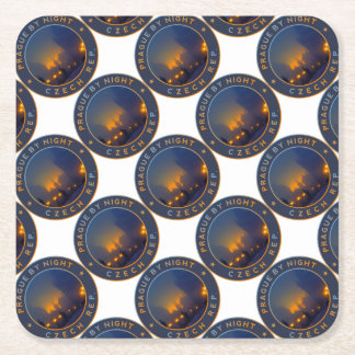 Praha by Night Square Paper Coaster