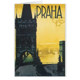 Praha Vintage Travel Poster Card