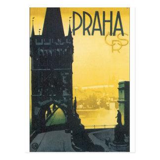 Praha Vintage Travel Poster Postcard