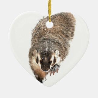 Prairie Badger in Winter snow Ceramic Heart Decoration