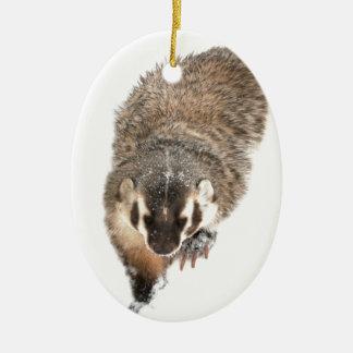 Prairie Badger in Winter snow Ceramic Oval Decoration