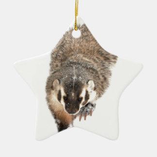 Prairie Badger in Winter snow Ceramic Star Decoration