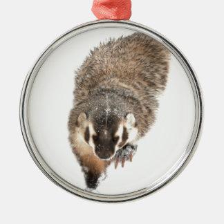 Prairie Badger in Winter snow Metal Ornament