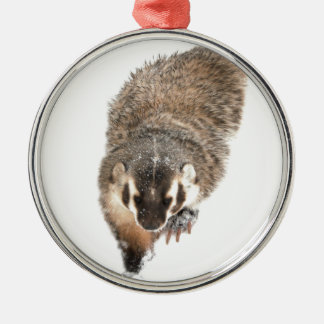 Prairie Badger in Winter snow Silver-Colored Round Decoration