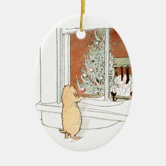 Prairie Dog and Christmas Tree Ceramic Ornament