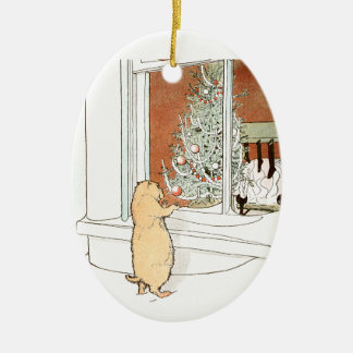 Prairie Dog and Christmas Tree Ceramic Oval Decoration