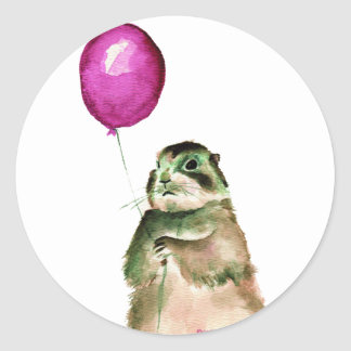 Prairie Dog Balloon Classic Round Sticker