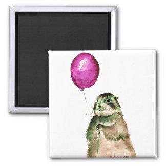 Prairie Dog Balloon Square Magnet