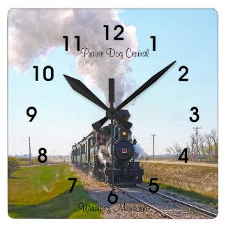 Prairie Dog Central Steam Engine #3 Square Clock