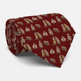 Prairie Dog Frenzy Tie Double Sided (Burgundy)