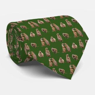 Prairie Dog Frenzy Tie Double Sided (Dark Green)