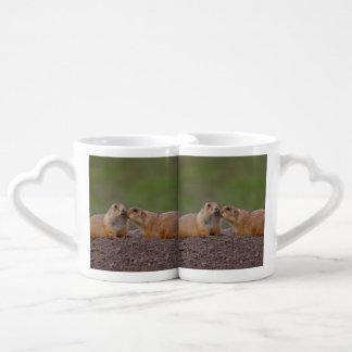 prairie dog kiss lovers mug set