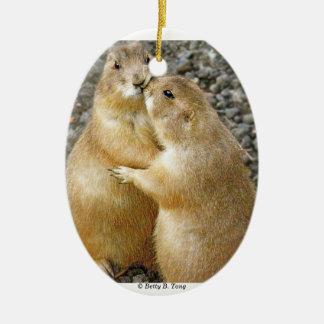 Prairie Dog Kisses Ceramic Ornament