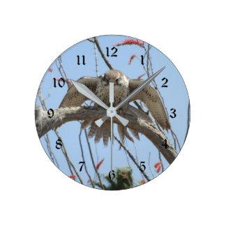 Prairie Falcon Round Clock