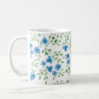Prairie Flowers - Watercolor Floral Blue Green Coffee Mug