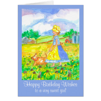 Prairie Girl Farm House Happy Birthday Card