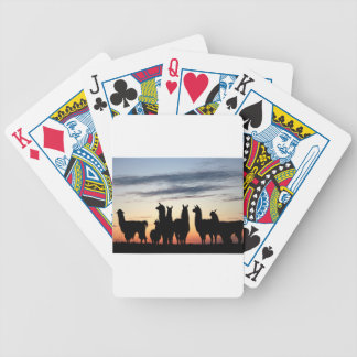 Prairie Llama silhouette Bicycle Playing Cards