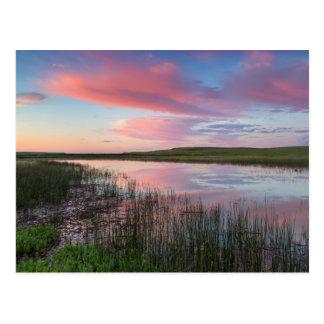 Prairie Pond Reflects Brilliant Sunrise Clouds Postcard